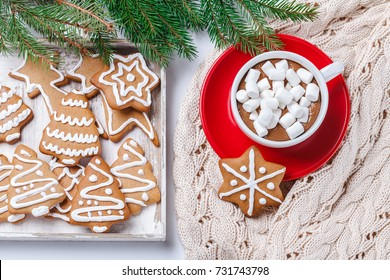 Hot chocolate and marshmelow in a white cup on a red plate on a knitted warm blanket. horizontal. Christmas cookies.
