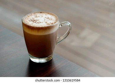 Hot chocolate with milk foam and space for write wording, high nutrition hot drink sold in coffee shop and bakery shop - Shutterstock ID 1310619584