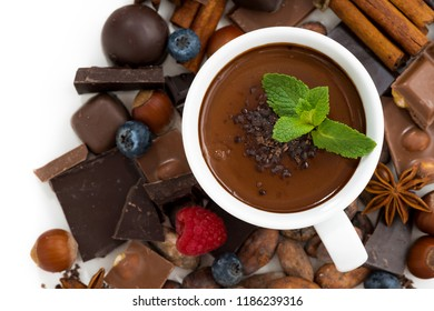 hot chocolate with mint in a cup and ingredients, top view, horizontal