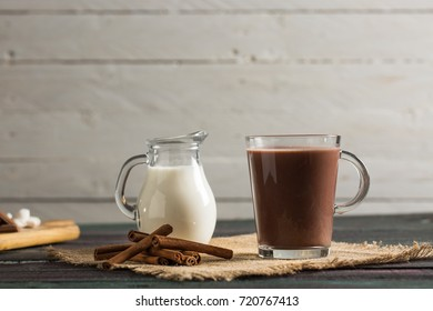 Hot Chocolate on Rustic Table