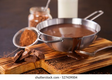 hot chocolate in a pan on a board, selective focus, copy space