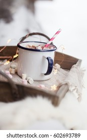 Hot Chocolate with peppermint and marshmallows