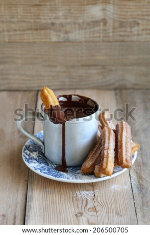 Hot chocolate sauce with churros