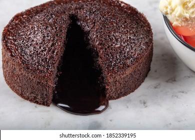 Hot Chocolate Souffle Lava Cake with Ice Cream,  (TR: Sicak Cikolatali Sufle Dondurmali).