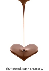 Hot chocolate stream in the form of heart on white background