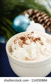 Hot Chocolate topped with whipped cream and cocoa shavings is set against a blue and green background