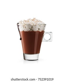 Hot chocolate with whipped cream isolated on white, included clipping path