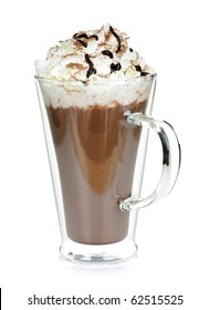 Hot chocolate with whipped cream in mug isolated on white