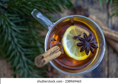 Hot cider with winter spices