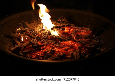 Hot coals in firepit