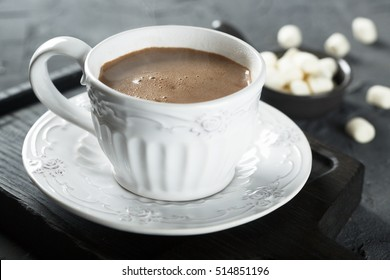 Hot cocoa drink with marshmallow