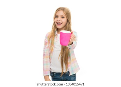 Hot cocoa recipe. Make sure kids drink enough water. Girl kid hold cup white background. Child hold mug. Drinking tea juice cocoa. Relaxing with drink. Child smiling drink enough during school day.