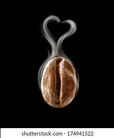 Hot coffee bean in a heart-shaped steam