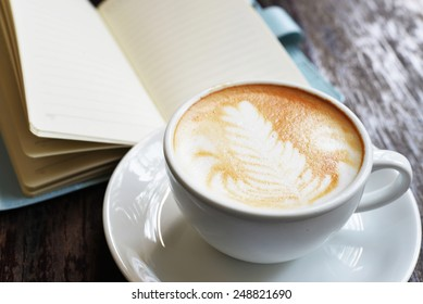 hot coffee with blank note