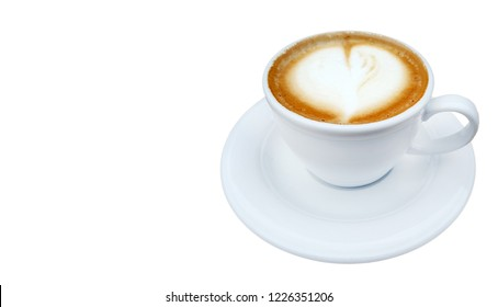 Hot coffee cappuccino latte art on white background
