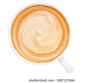 hot coffee cappuccino or latte coffee top view isolated on white background with clipping path