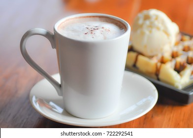 hot coffee or hot cappucino and dessert