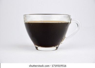 Hot coffee in clear glass.