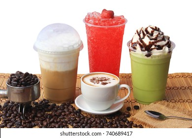 Hot coffee cup with coffee beans on the wooden table, Cold coffee, Iced matcha green tea and fruit soda for summer drink