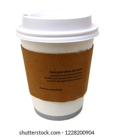 A hot coffee cup, carry out