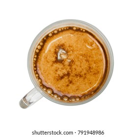 Hot Coffee Cup Isolated on White Background Top View with Clipping Path
