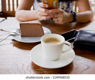 hot coffee cup on table at morning, relax time, latte coffee