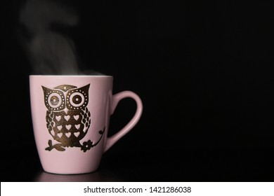 Hot coffee cup with sweet owl symbol