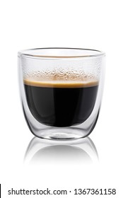 Hot coffee in a glass with double walls isolated on a white background. 100 sharpness.