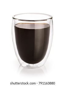 Hot coffee in a glass with double walls isolated on a white background.