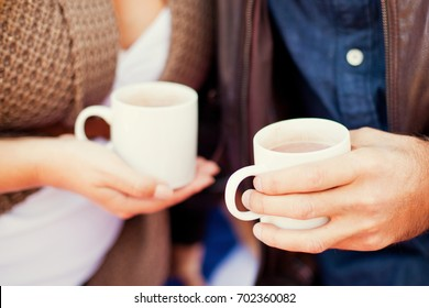 Hot coffee in the hands