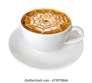 Hot coffee latte art caramel flower shape foam isolated on white background, clipping path included