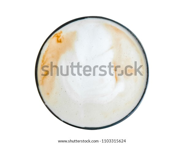 Hot coffee latte art  in cup isolated white background.