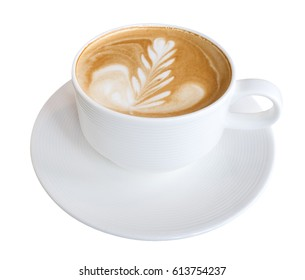 Hot coffee latte art isolated on white background, clipping path included