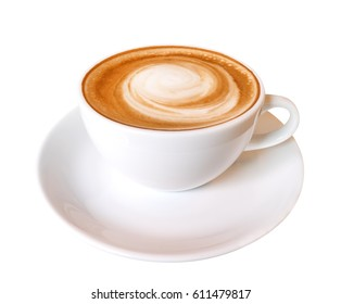 Hot coffee latte cappuccino spiral foam in ceramic cup isolated on white background, clipping path included