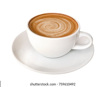 Hot coffee latte cappuccino spiral foam isolated on white background, clipping path included