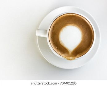 Hot coffee latte on the white background,top view