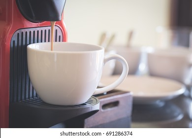 hot coffee from machine for refreshment