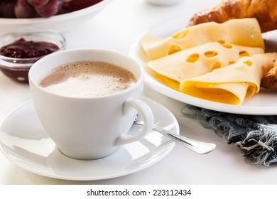 Hot coffee in the morning breakfast. Focus on coffee