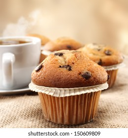 hot coffee and muffin