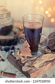 hot coffee on christmas background