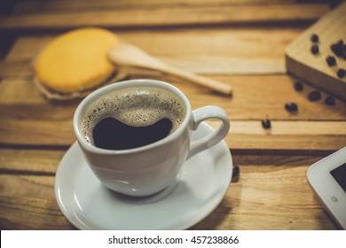 hot coffee on desk