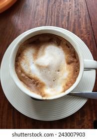 Hot coffee on desk, Drinking coffee