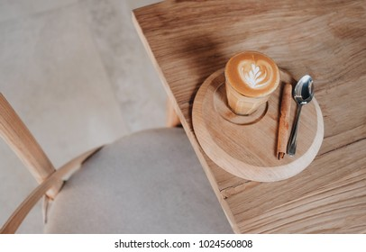 Hot coffee on the table in Cafe