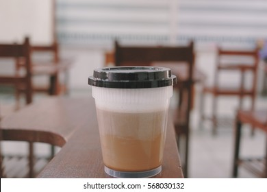 Hot coffee on table in class room