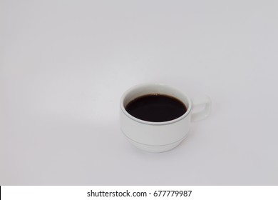 Hot coffee on white background