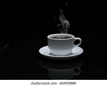 Hot coffee ready to drink with smoke