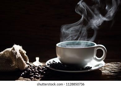 Hot coffee and smoke selective focus