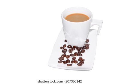 Hot coffee in a white cup and beans on a white background. Black Coffee in Glass cup and beans on a white background. (with clipping path) (Copy space image put text into left area)