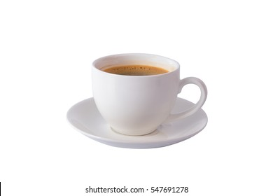hot coffee in white cup isolated on white background with clipping path