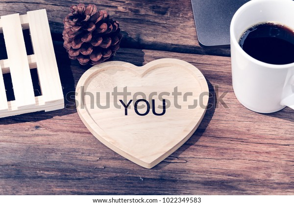 Hot Coffee White Glass Heartshaped Wooden Stock Photo Edit Now